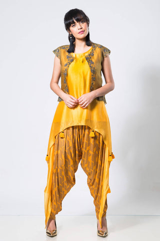 Olive Green Cut-work Jacket with an Asymetrical Yellow Top and Dhoti - The Ethnic Fix - Dubai - UAE