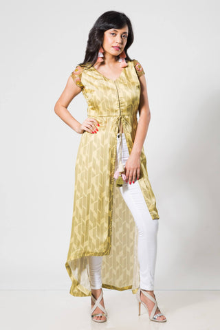 Limegreen Wraglan Sleeves with High-Low Kurta - The Ethnic Fix - Dubai - UAE