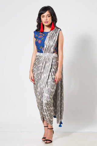 Black & White Drape Saree with Blue Printed Blouse - The Ethnic Fix - Dubai - UAE