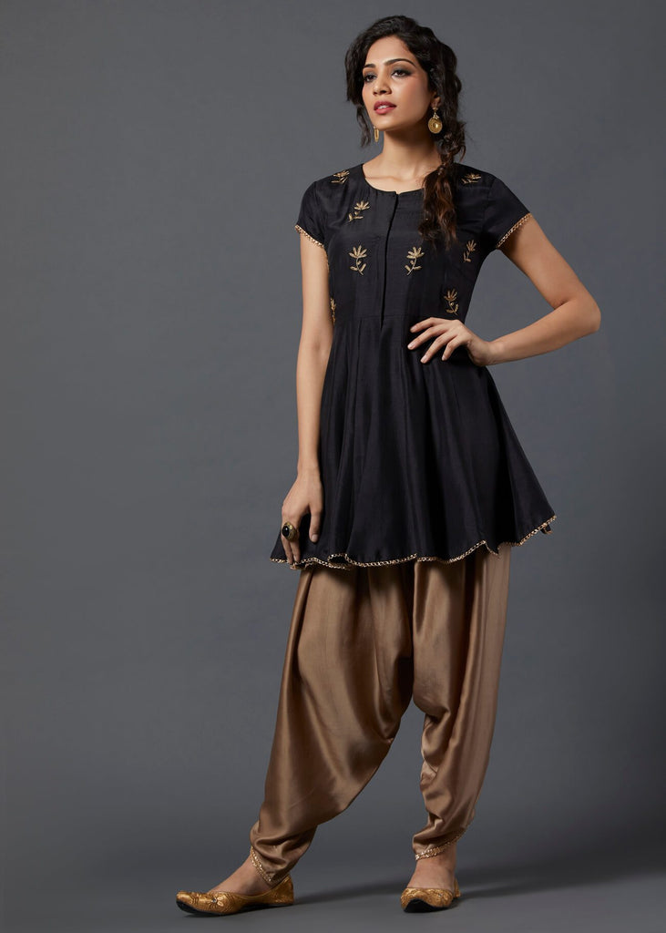 Black Peplum Top with Dhoti - The Ethnic Fix - Dubai - UAE