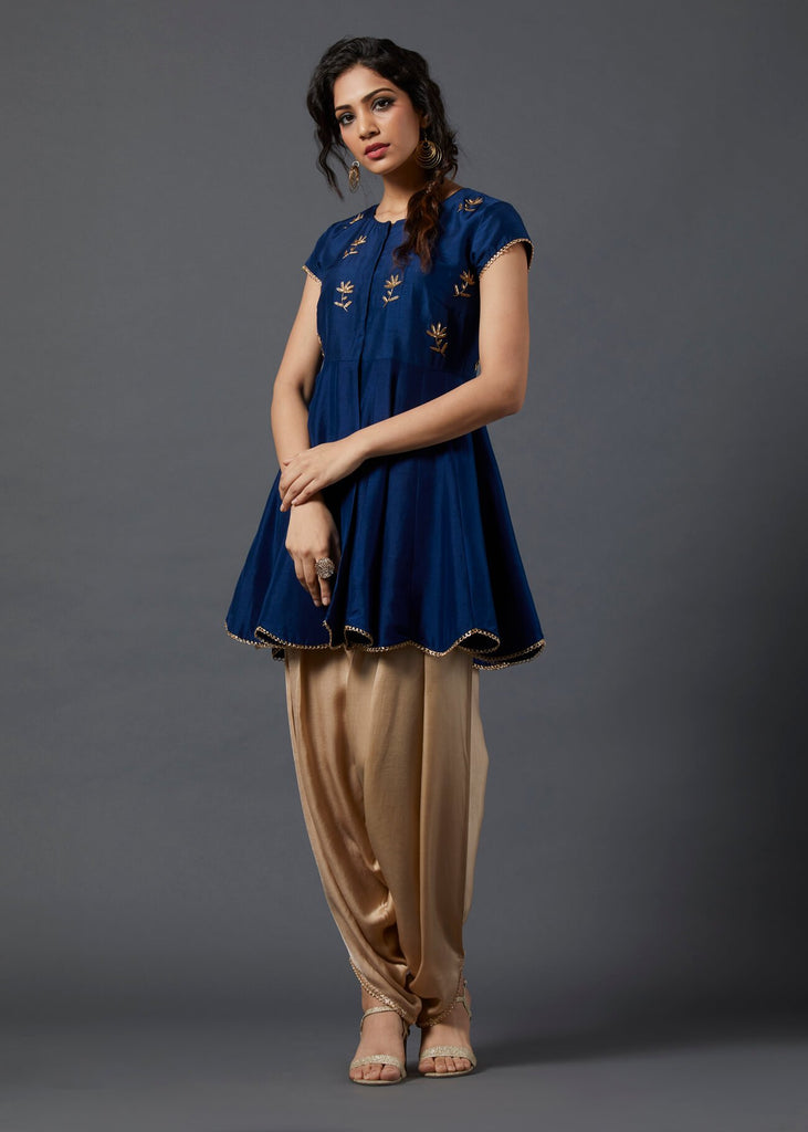 Cobalt Blue Peplum Top with Dhoti - The Ethnic Fix - Dubai - UAE