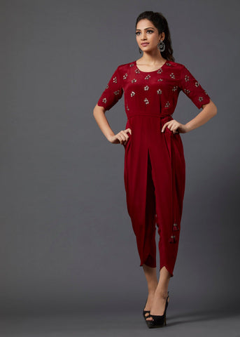 Maroon Jumsuit - The Ethnic Fix - Dubai - UAE
