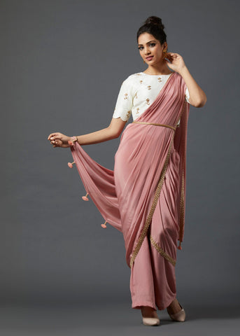 Peach Draped Saree - The Ethnic Fix - Dubai - UAE