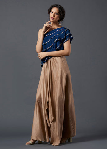 Cobalt Blue Frill Top & Skirt - The Ethnic Fix - Dubai - UAE