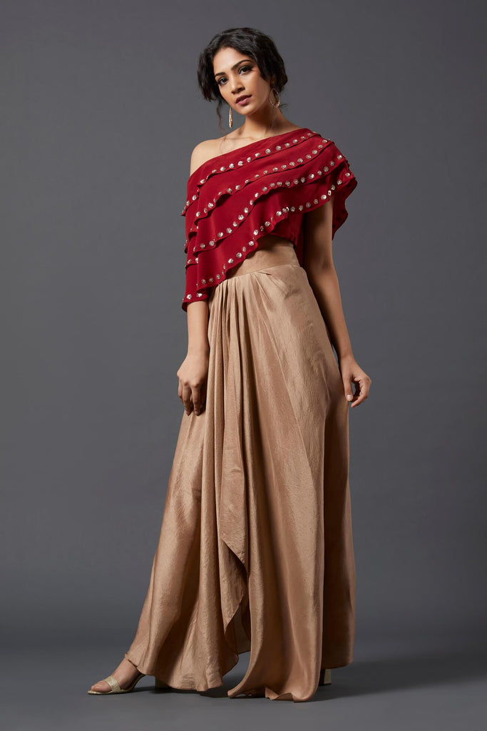 Maroon Frill Top & Skirt - The Ethnic Fix - Dubai - UAE