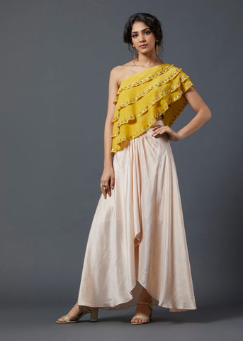 Yellow Frill Top & Skirt - The Ethnic Fix - Dubai - UAE