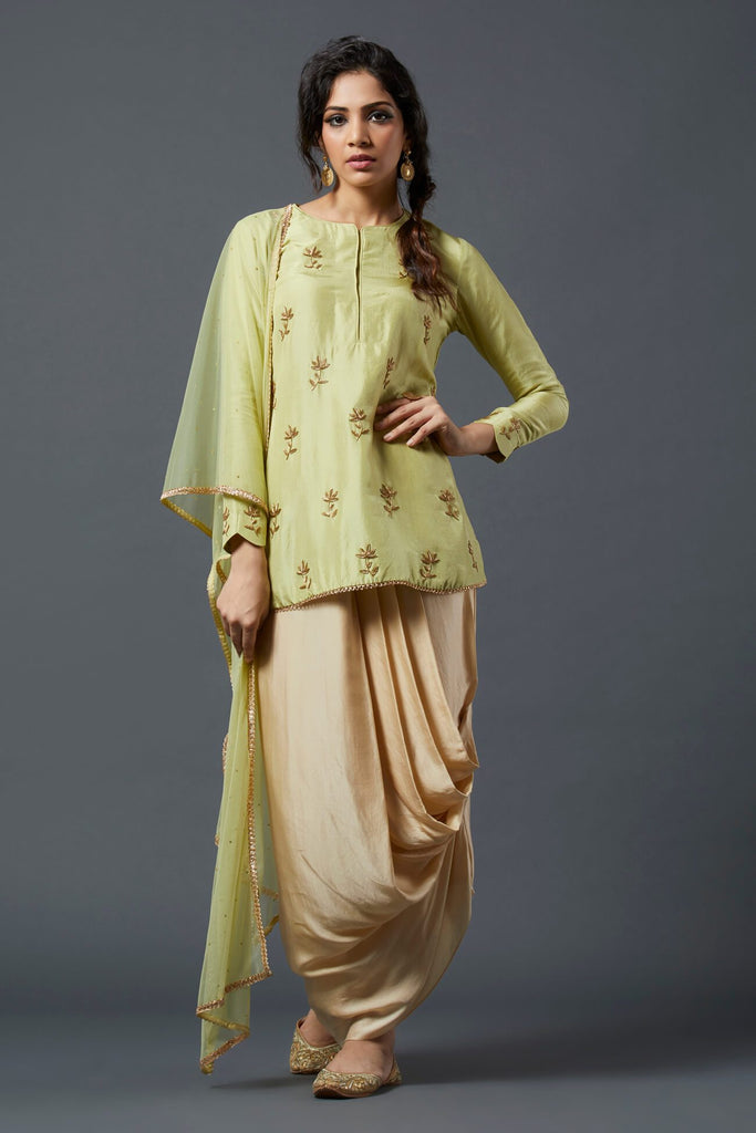 Green Kurta with Drape skirt - The Ethnic Fix - Dubai - UAE