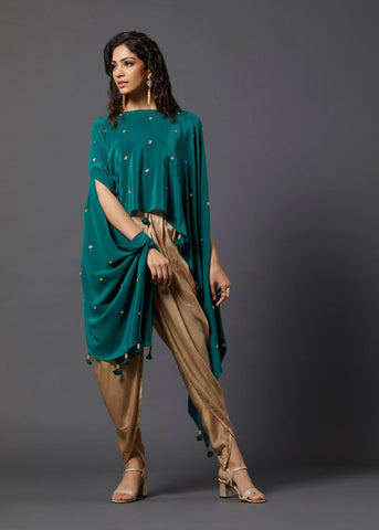 Green Asymmetric Cape & Overlap Dhoti Pants - The Ethnic Fix - Dubai - UAE