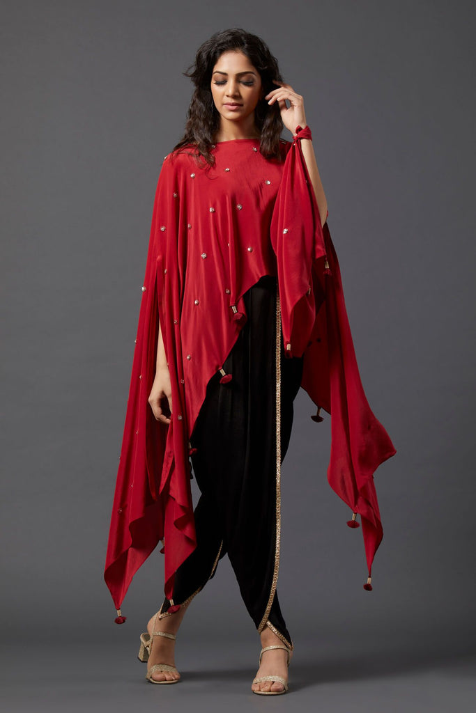 Maroon Asymmetric Cape & Overlap Dhoti Pants - The Ethnic Fix - Dubai - UAE
