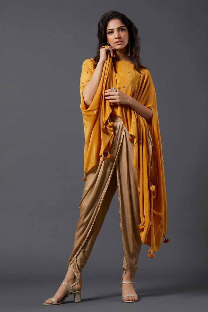 Yellow Asymmetric Cape & Overlap Dhoti Pants - The Ethnic Fix - Dubai - UAE
