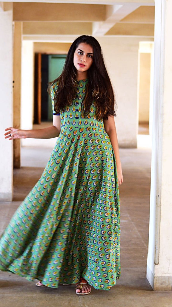 Green Flower Dress - The Ethnic Fix - Dubai - UAE