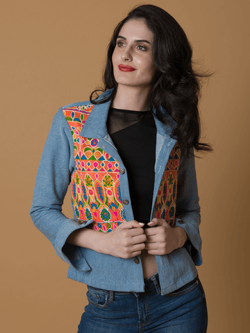 Denim Embdoirdered Jacket - The Ethnic Fix - Dubai - UAE