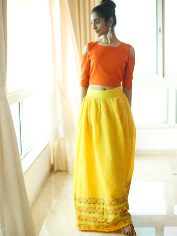 Yellow skirt and Cold shoulder choli - The Ethnic Fix - Dubai - UAE