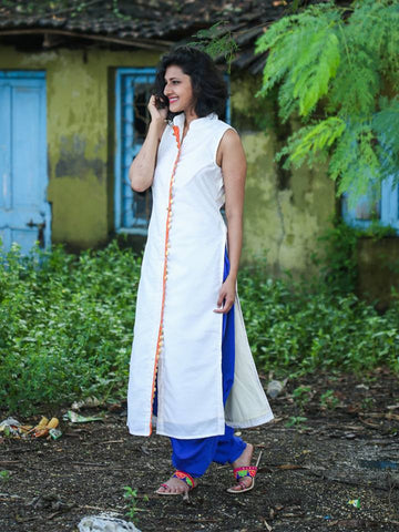 Off white Silk Kurta - The Ethnic Fix - Dubai - UAE