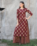 Maroon Block Printed Kurta with striped Palazzos