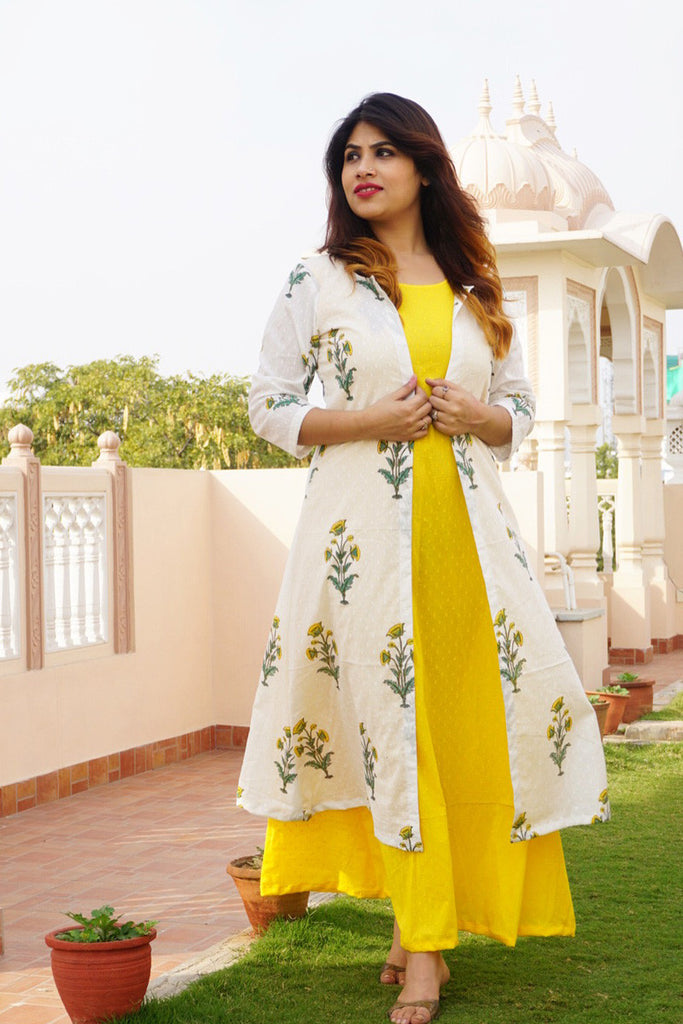 Sunshine yellow maxi & tulip jacket - The Ethnic Fix - Dubai - UAE