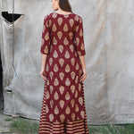 Maroon Block Printed Kurta with striped Palazzos - The Ethnic Fix - Dubai - UAE
