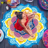 Round Beach Bohemia Towel Large Yoga Mat Colorful Grace Lotus Print 150cm Indian Mandala Bath Towels