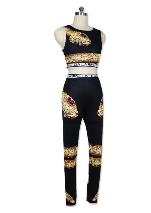 Yoga Sets Digital Printing Sleeveless Tight Trend Trousers Two-Piece Suit