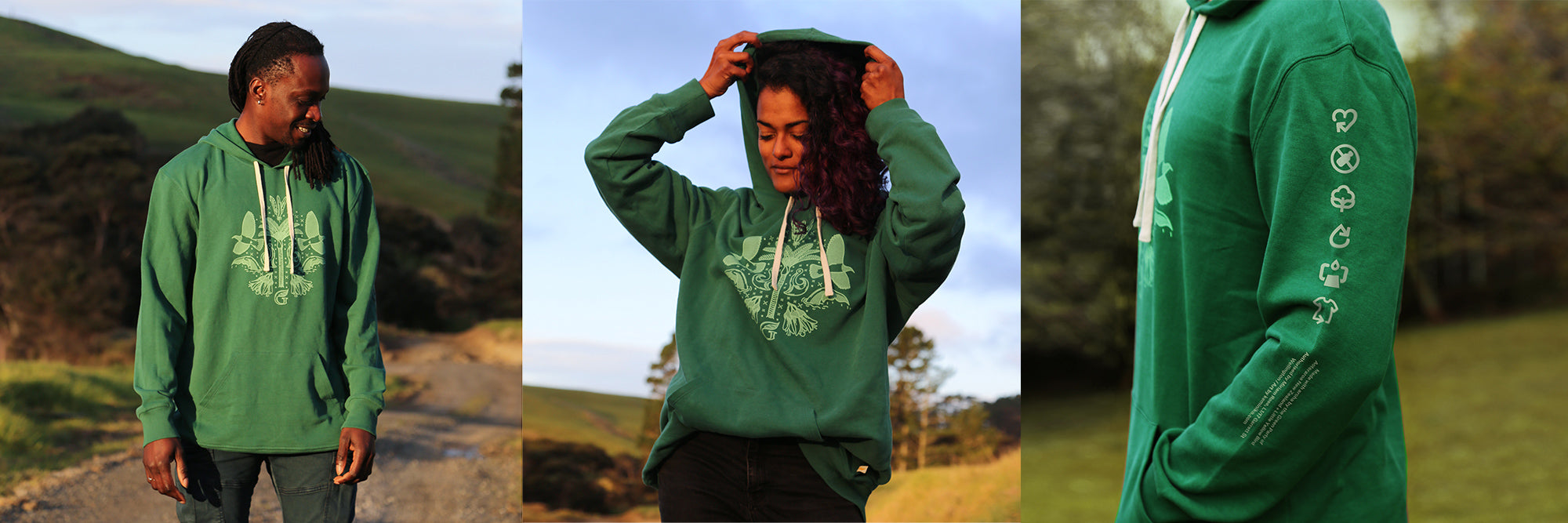 Three images of the hoodie, showing the front and the sleeve print