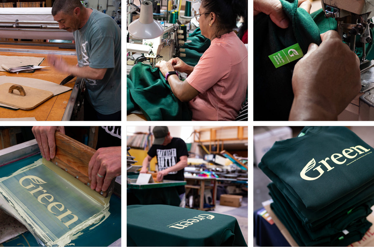 Images of sweatshirt cutting, sewing, and printing