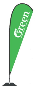 Green Party Tear Drop Flag - Large