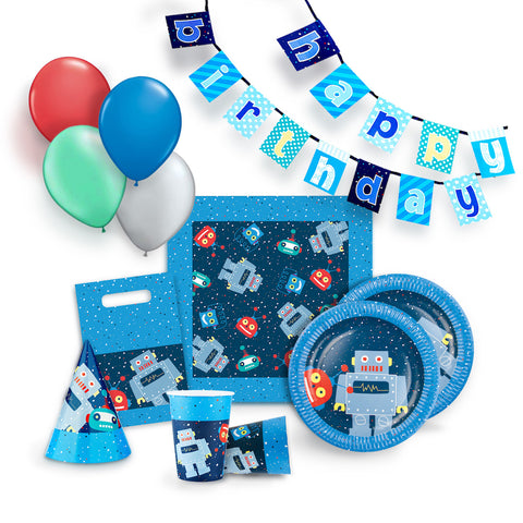 Robot Party Supplies Kit for 12