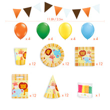 Load image into Gallery viewer, Jungle Animals Birthday Party Kit for 12