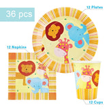 Safari Party Supplies Set - 36 pcs Plates, Cups & Napkins