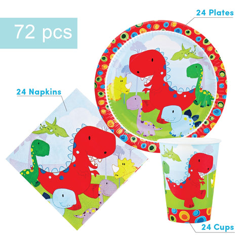 Dinosaur Party Supplies Set - 72 pcs Plates, Cups & Napkins
