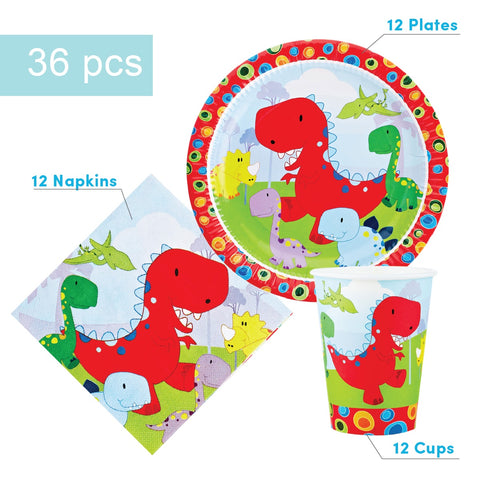 Dinosaur Party Supplies Set - 36 pcs Plates, Cups & Napkins