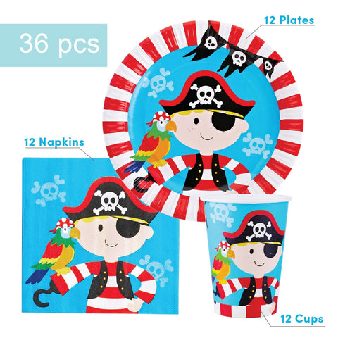 Pirate Party Supplies Set - 36 pcs Plates, Cups & Napkins