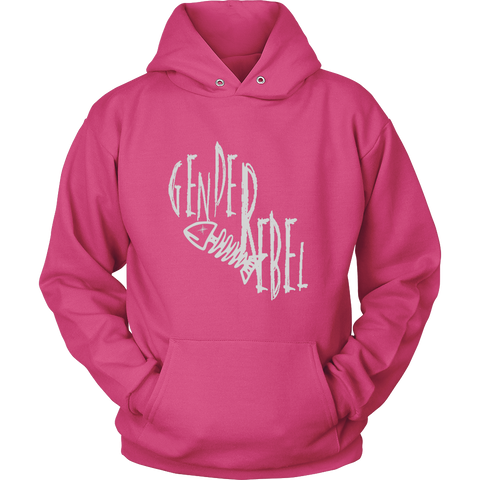 """Gender Rebel"" (white print) - Pullover Hoodies sold by GenderUnique."