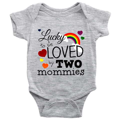 """Loved By Two Mommies"" (black print) - Baby Onesies sold by GenderUnique."