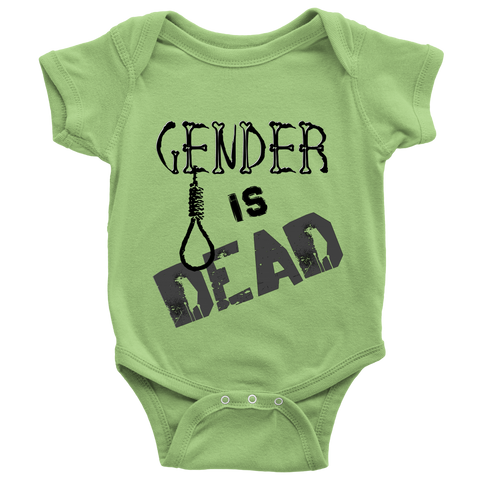 """Gender is Dead"" (black print) - Baby Onesies sold by GenderUnique."