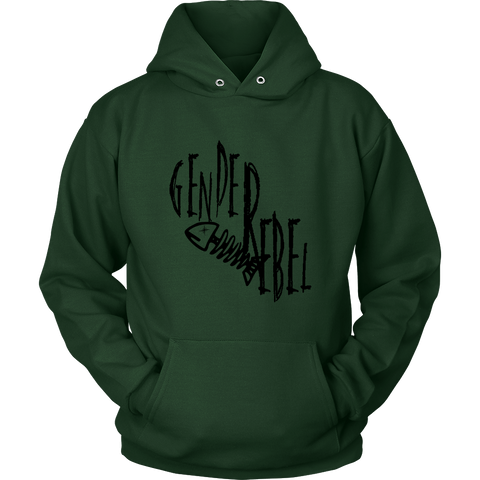 """Gender Rebel"" (black print) - Pullover Hoodies sold by GenderUnique."