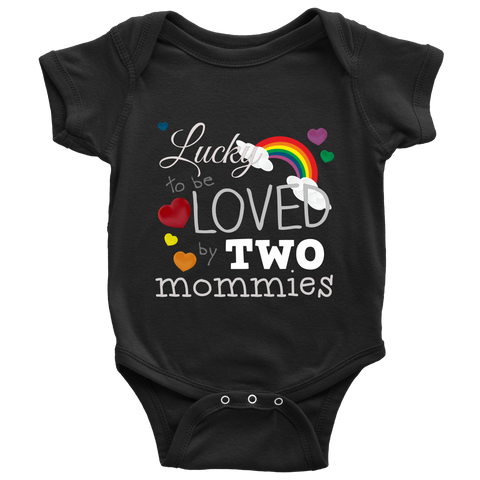 """Loved by Two Mommies"" (white print) - Baby Onesies sold by GenderUnique."