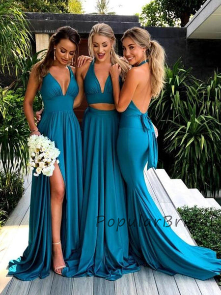 Sexy Sleeveless Halter Open Back Long Bridesmaid Dresses, PB001