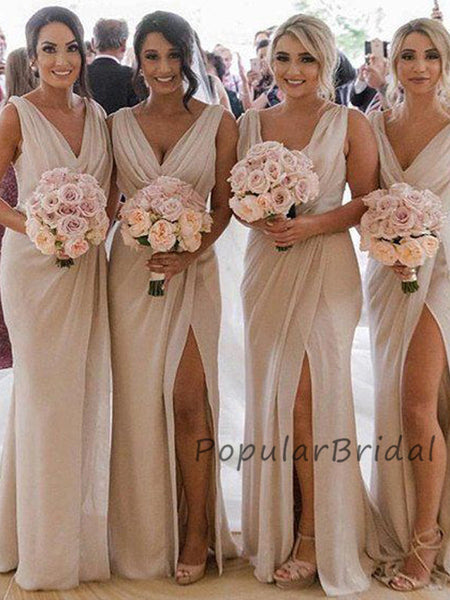 Charming A-line Sleeveless V-neck Long Bridesmaid Dresses, PB003