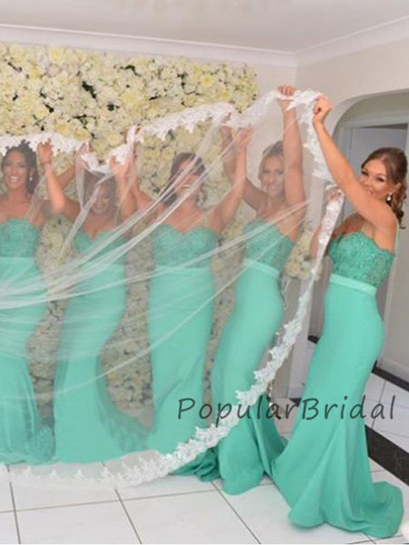 Pretty Mermaid Lace Spaghetti Straps Long Bridesmaid Dresses, PB004