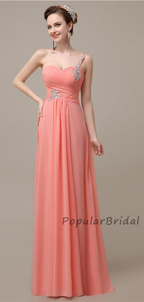 Beautiful A-line One-Shoulder With Beading Long Bridesmaid Dresses, PB005