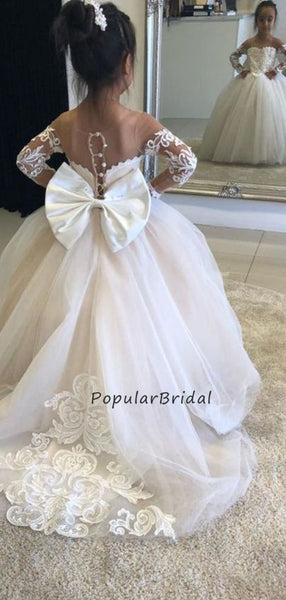 Beautiful Ball-Gown Lace Applique Long Sleeves Long Flower Girl Dresses, PT006