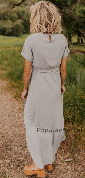 Simple A-line Short Sleeves Bridesmaid Dresses, Cheap Bridesmaid Dresses PB007