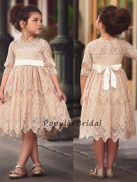 Lovely Lace A-line 3/4 Sleeves Flower Girl Dresses With Bow, PT007