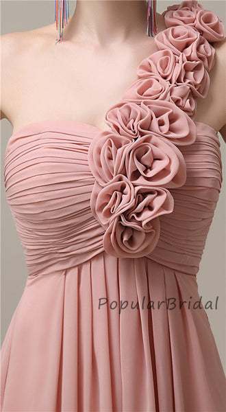 Beautiful A-line Chiffon One-Shoulder Long Bridesmaid Dresses, PB010