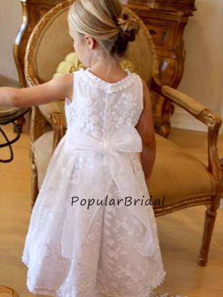 Cute Lace A-line Sleeeveless Flower Girl Dresses With Big Bow, PT011