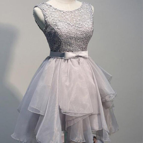Round Neckline Silver  Lace Organza Sleeveless Cute Homecoming Dresses with Satin Belt, HD045