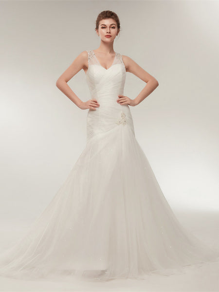 Sweetheart With Sequin Strap Pleats Mermaid Cheap Wedding Dresses, WDY0302