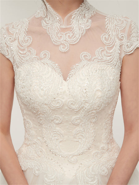 High Neck Short Sleeve See Through Applique Ball Gown Cheap Wedding Dresses, WDY0304