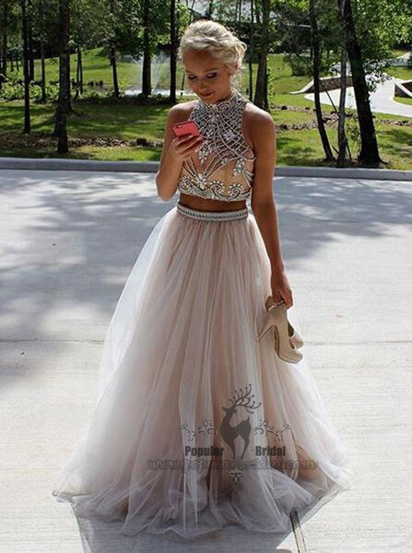 2 Pieces High Neck Rhinestone Beaded Long Tulle Prom Dresses, Prom Dresses, BG0378